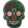 Green Floral Tattoo Skull Embroidered Iron / Sew On Clothes Patch Badge Transfer