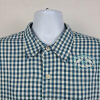 Tommy Bahama Ocean Blue Gingham Check Mens Dress Button Shirt Size XL