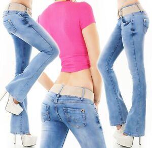 Damen Bootcut Schlag Jeans Hose Stone Washed Denim Stretch Gürtel XS-XXL