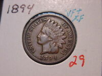 1894 INDIAN HEAD CENT VF + XF NICE BETTER DATE COIN COMBINED SHIPPING