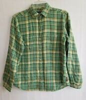 Woolrich Womens Plaid Shirt Long Sleeve Button Front Green Yellow Cotton Size S