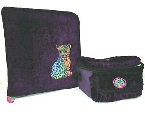 Lisa Frank Vintage 3 Ring Notebook and lunchbox fuzzy purple
