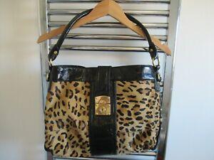 Leopard Pony Skin and black patent leather shoulder bag by Episode