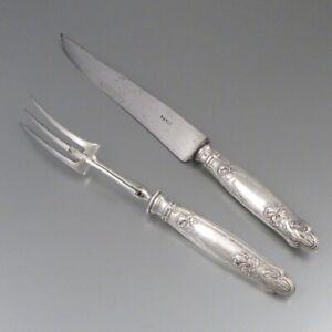 Antique French Art Nouveau Sterling Silver Carving Set, Iris, Ravinet D'Enfert