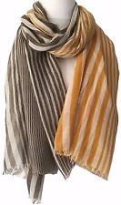 Yellow Brown Striped Scarf Ladies Mustard Cream Stripy Shawl Stripey Wrap new
