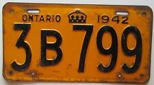 Ontario 1942 License Plate # 3B 799