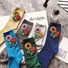 Colorful Sunflower Gem Silver Sequins Meias Handmade Heap Calcetines Funny Socks