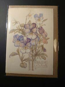 Rennie Mackintosh watercolour Heartsease 5 pack notelets cards kraft envs A6