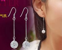 Women Vintage Long Silver Hook Earring CZ Crystal Ear Stud Drop Dangle Earrings