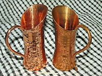 Vintage WEEDA TASMANIA COPPER Pair of JUGS PITCHERS Australian Hand beaten