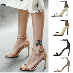 Classic Ankle Strap Sandals Patent Leather High Heels Thin Belt Gold Women Shoes