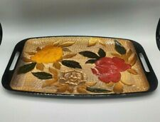 Vtg Double Handled Hand Painted Flowers Floral Design Rectangular Serving Tray