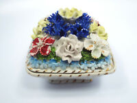 Vintage Germany Porcelain Painted Flowers Trinket Box