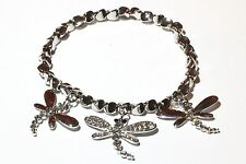 Damen Stretch Armband Libelle Ketten Armreif Silber mit Swarovski Kristall