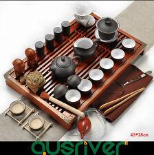 Oriental Tradition Chinese Zisha Tea Set Solid Clay  Wood Kungfu Tea Black/White