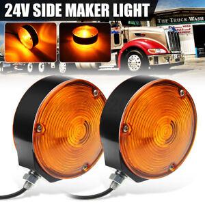 2X Trailer Truck Lorry Lollipop Earring Amber Mirror Side Maker Lamp Light 24V