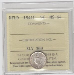 1941 c Newfoundland 5-cents Silver Coin ICCS MS-64