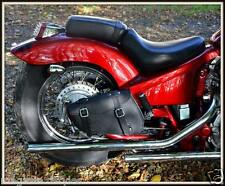 Sacoche latérale coté cadre rigide en Cuir ( moto custom 600 Shadow Coté DROIT )