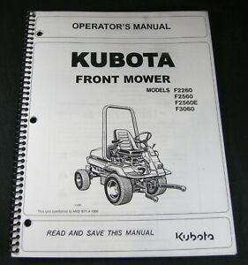 Kubota Front Mower Tractor F2260 F2560 F2560D F3060 Operators Maintenance Manual