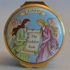 "Halcyon Days Enamels Rare Year 2000 ""Golden Rule"" Trinket Box"