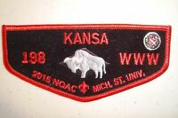 KANSA LODGE 198 PATCH BLACK FELT NOAC 2015 100TH ANN OA CENTENNIAL FLAP W/ PAPER