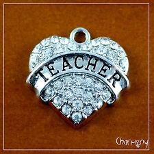 Silver Crystal TEACHER Heart charm ~ 20mm rhinestone for gift pendant key ring