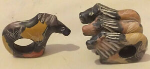 4 Napkin Holders - Lions x3 + x1 hyena  Product Hand carved In Kenya - set