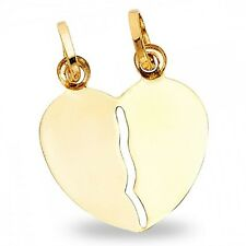 Solid 14k Yellow Gold Broken Heart Pendant Breakable Love Charm Satin Finish