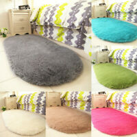 Oval Fluffy Rugs Anti-Slip SHAGGY RUG Soft Carpet Mat Living Room Floor Bedroom