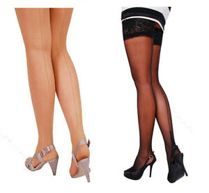 Sexy Hold-Ups Cuban Heel With Back Seamed - Size S,M,L,XL