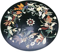 """24"""" Marble Round Coffee Table Top Marquetry Mosaic Inlay Art Outdoor Decor H2044"""
