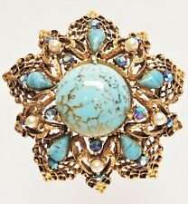 Vintage Signed FLORENZA Turquoise Copper Fluss Art Glass, AB Rhinestone Brooch