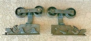 PAIR (L & R)  Adjustable Pocket Door Rollers Architectural Hardware Assembly Vtg