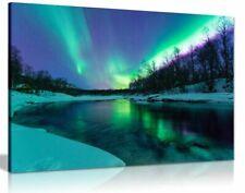 Winter River Northern Lights Aurelia Borealis Canvas Wall Art Picture Print