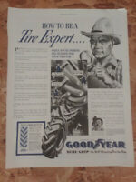 Vintage Large Advertising 1940 Goodyear Tires Be a Tire Expert Farmer Sure Grip