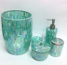 NEW 5 PC TEAL GREEN MIRROR GLASS MOSAIC SOAP DISPENSER+TUMBLER+TRASH+JAR+1
