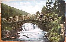Irish Postcard Rustic Wooden BRIDGE & FALL GLENARRIFF Antrim Northern Ireland