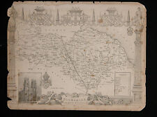 Vtg Antique YORKSHIRE NORTH RIDING Map circa 1840s by Moule 19th C. Engraving
