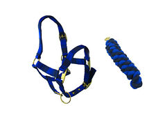 HORSE (SMALL PONY) NAVY BLUE AND BLACK HEAD COLLAR & MATCHING LEAD ROPE SET