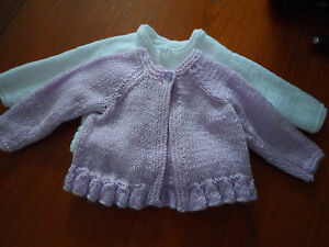 """Hand knitted round neck cardigan, lilac, lemon, pink, green or white  10.25""""-18"""""""