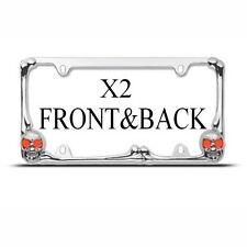 2 FrameS FOR FRONT & BACK SKULL AND CROSS BONES Metal License Plate Frame NEW