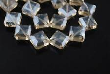 10pcs 13mm Diagonal Hole Square Faceted Crystal Glass Loose Beads Lt Champagne