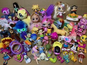 Bulk Lot Of 62 Fun Fabulous Small Girls Toys Dolls Animals Lalaloopsy Minis Pony