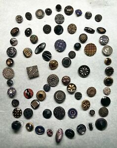 Antique & Vintage Buttons ~ Card of 19th Century & Modern Black Glass