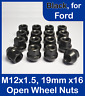 16 x Open Alloy/Steel Wheel Nuts for Ford M12 x 1.5, 19mm Hex