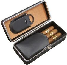 3 Cigar Black Cigar Padded Leather Case ~ With a Built-In Guillotine Cutter