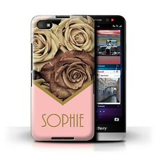 Personalised Custom Floral Case Blackberry Z30/Gold Vintage Roses/Initial Cover