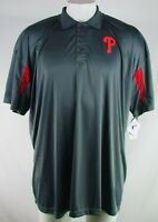 Philadelphia Phillies MLB Majestic  Men's Big & Tall Charcoal & Red Polo