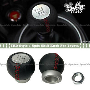 ALUMINUM TRD STYLE SHIFT KNOB W/ LEATHER WRAP FOR TOYOTA MANUAL MODELS 6-SPEED
