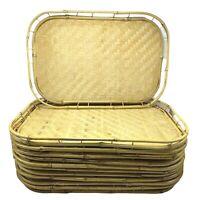 Bamboo Rattan Tiki Lap Trays Stacking Serving Set of 12 Vintage Boho Luau Party
